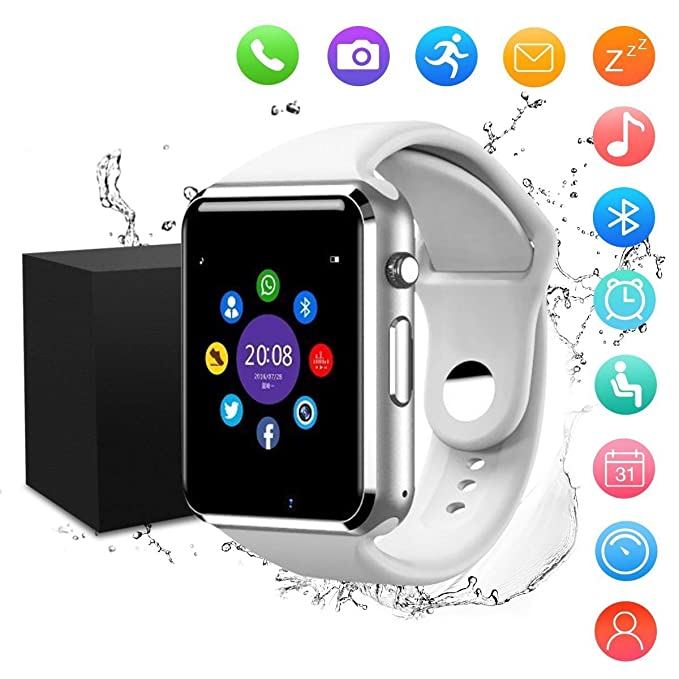 Smart Watch,JACSSO Touch Screen SmartWatch Bluetooth Smartwatch Clock Sync  Notifier Support SIM TF Card Compatible with Android Phones IOS Samsung for