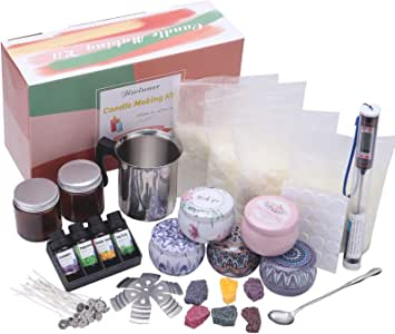 DIY Candle Making Kit Supplies, Complete Beginners Set with Soy Wax, Pot, Thermomete, Tins, Dyes, Wicks & More