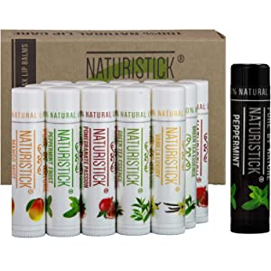 All-Natural Beeswax Lip Balm - 16 Pack Gift Set by Naturistick. Best Moisturizing Chapstick for Healing Dry, Chapped Lips, with Aloe Vera, Vitamin E, Coconut Oil - for Men, Women and Kids. Made in USA