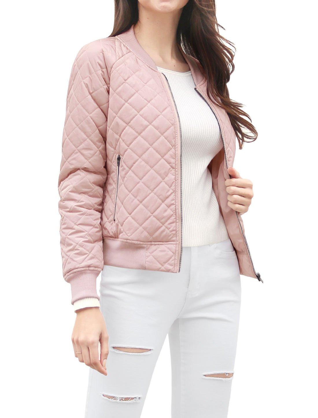 Allegra K Women's Raglan Long Sleeves Quilted Zip Up Bomber Jacket Pink XS (US 2) by Allegra K