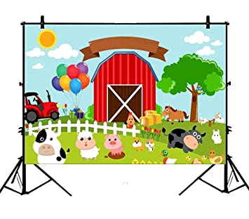 7x5ft Red Barn Barnyard Tractor Balloons Animals Fence Gardens Polyester Photography Backdrop Photo Background Studio Props