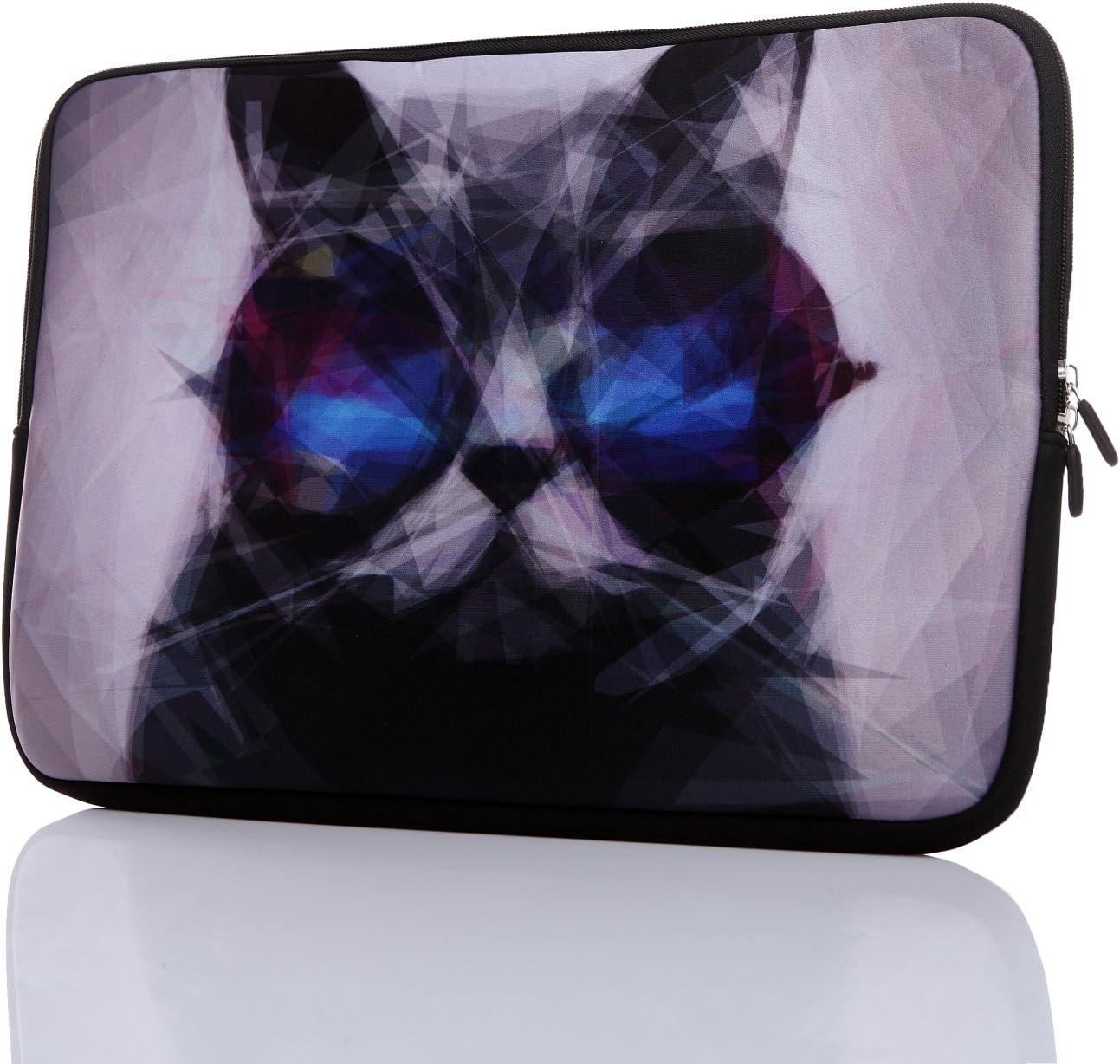 "13.3-Inch to 14-Inch Laptop Neoprene Sleeve Case with Hidden Handle for 12.9 13 13.3 14 14.1"" Inch Men Women Ultrabook/Chromebook/Tablet/Netbook (13.3-14 Inch Grey Cat)"