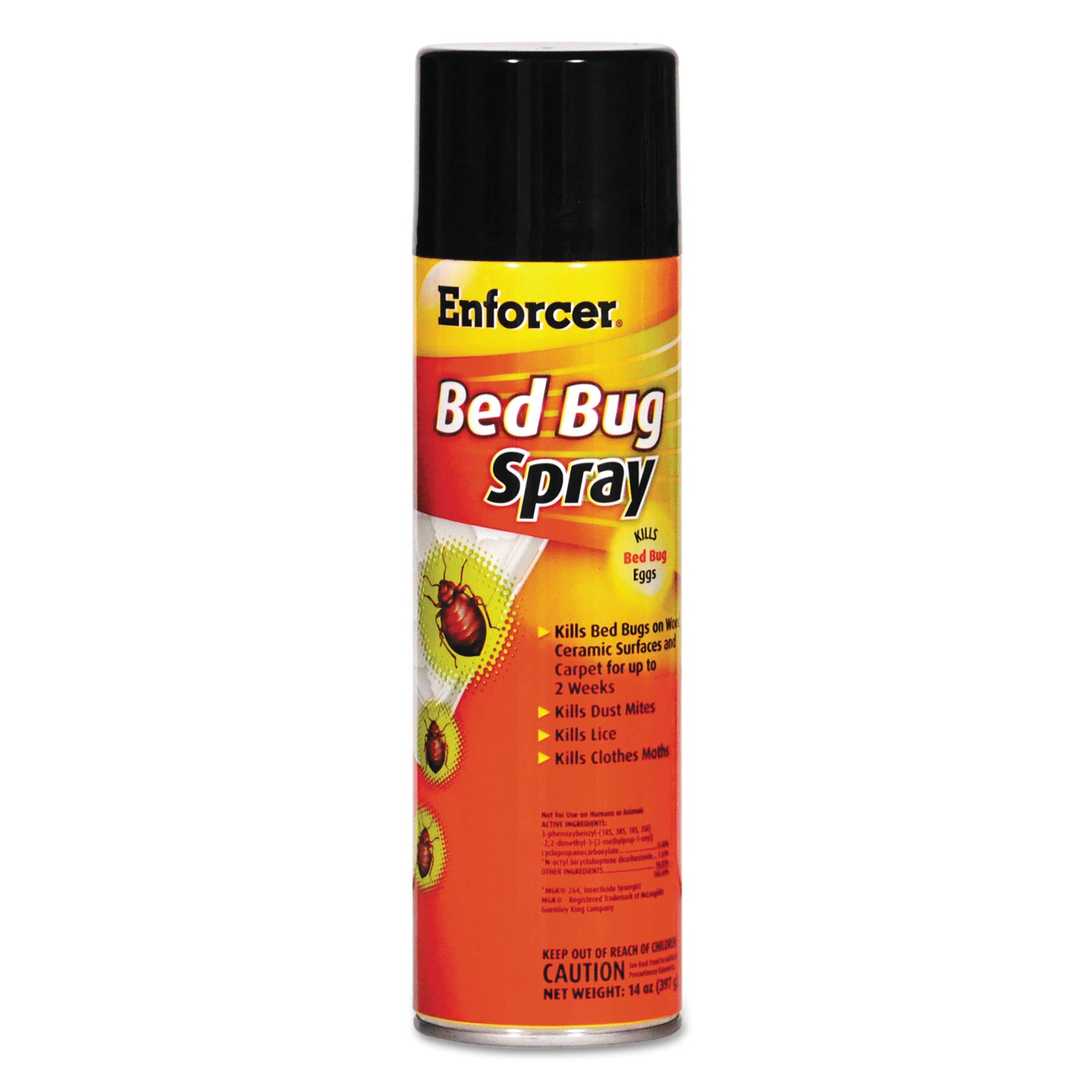 Enforcer 1043287 Bed Bug Spray for Bed BUGS/Dust Mites/Lice/Moths, 14 oz Aerosol, 14 Ounces, 1'' Height, 1'' width (Pack of 12)