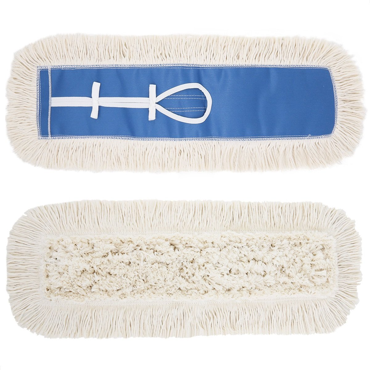 24'' Dust Mop Refill, Long Lasting Industrial Strength Washable Cotton Flip Mop Pad- Machine Washable, Concrete Hardwood and Laminate Floors Mop Head, Fits All 24'' Frame Mop, Commercial Strength, 1 pc