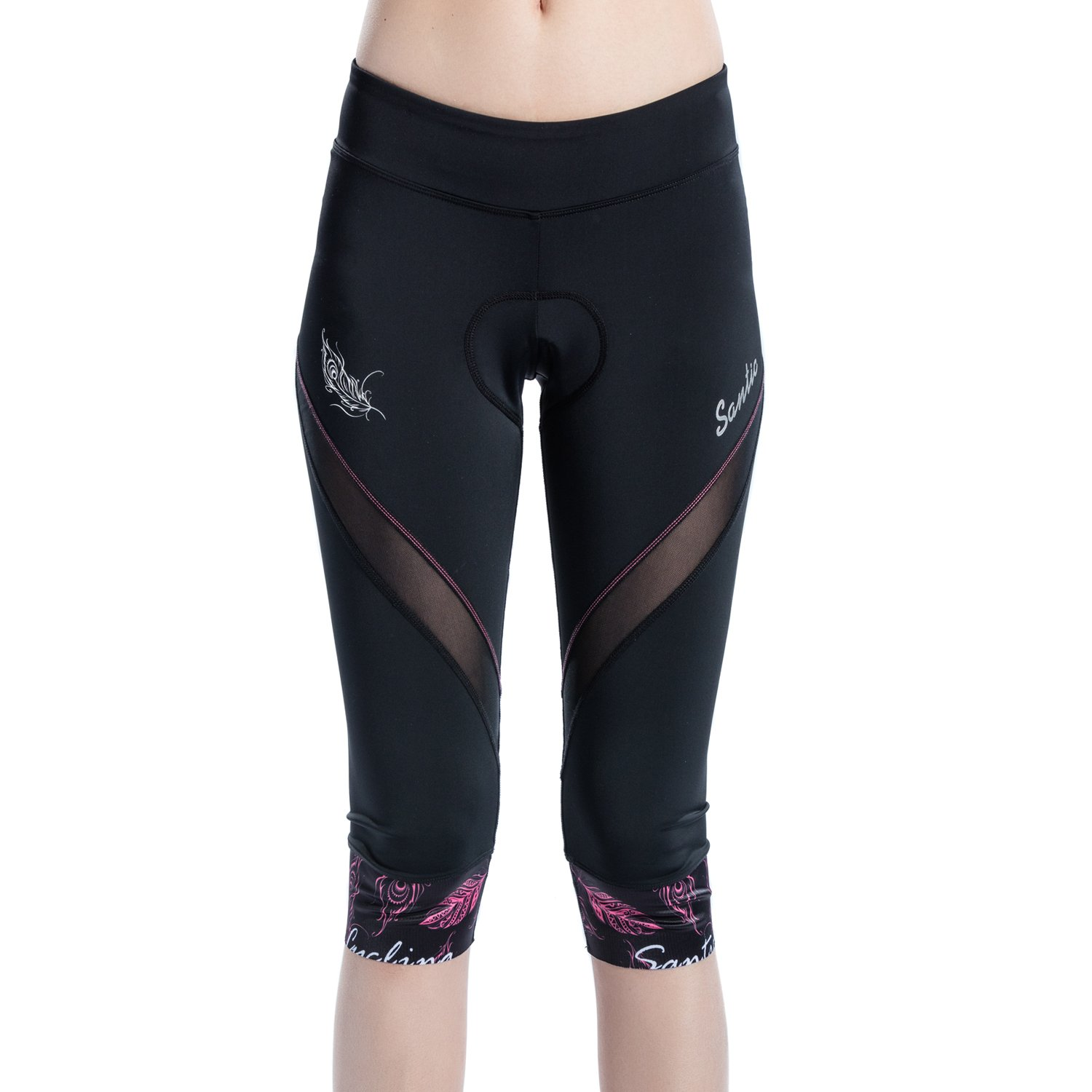 SANTIC Women's Cycling Shorts Padded 4D Pants Bike Capris Bicycle Tights Breathable