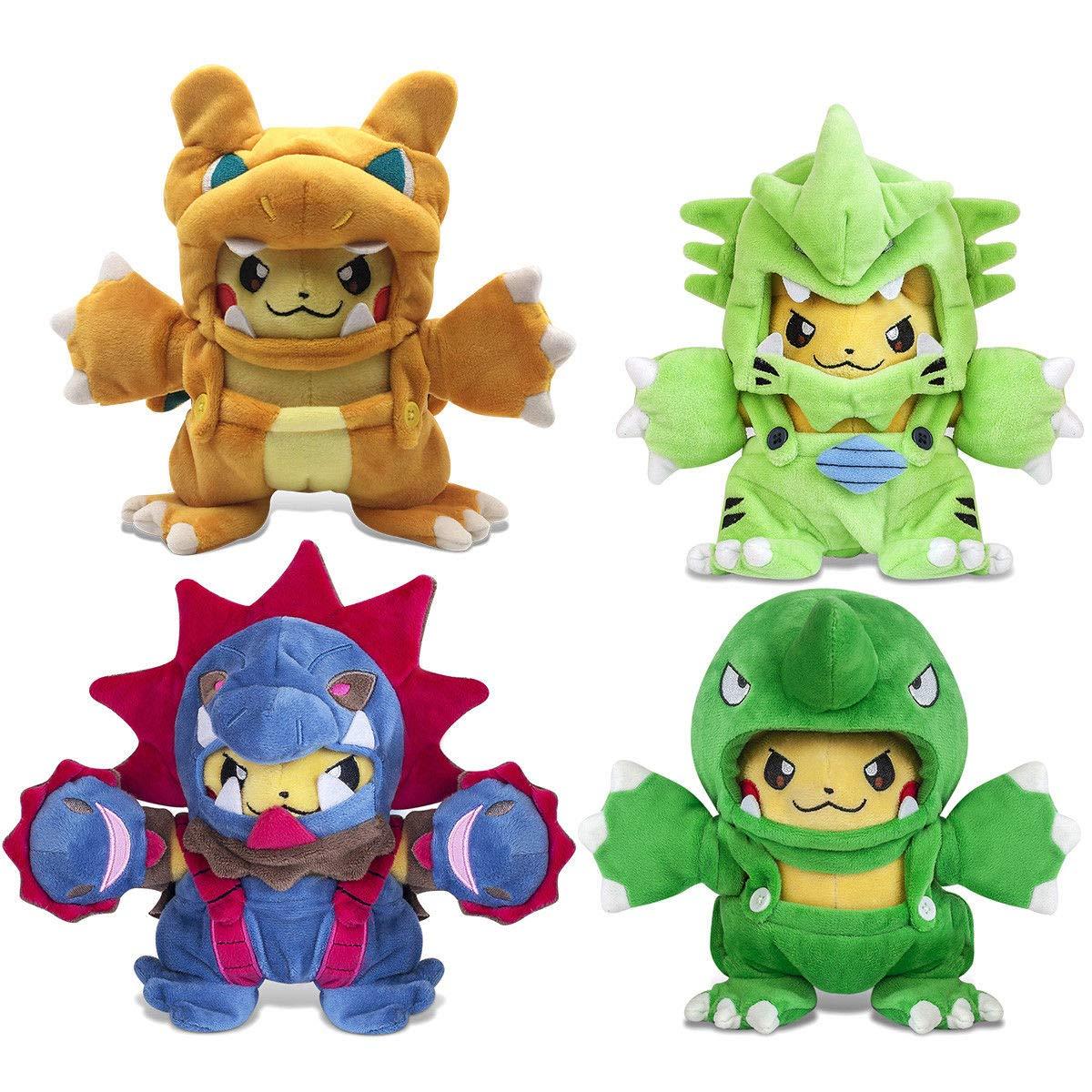 D-Khaleesi Hydreigon/Charizard Pikachu, Tyranitar PoManiac Pikachu Figure Animal Toys Plush Doll 8 inches Collectable Xmas Gift Set of 4 by D-Khaleesi