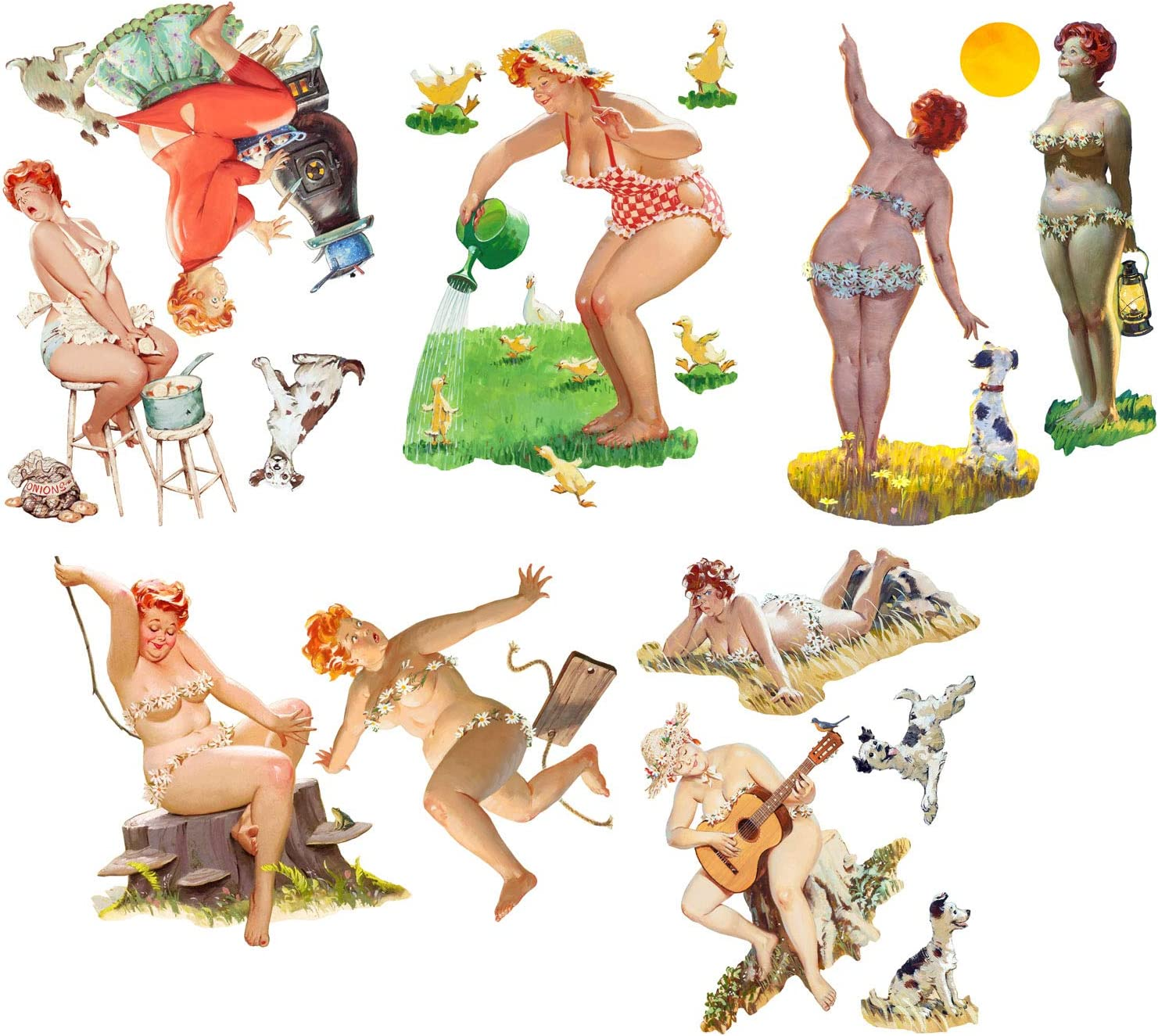 Wall Stickers Hilda Plus Size Chubby Pinup Girl Removable Real Size Vinyl Colorful Wall Decals