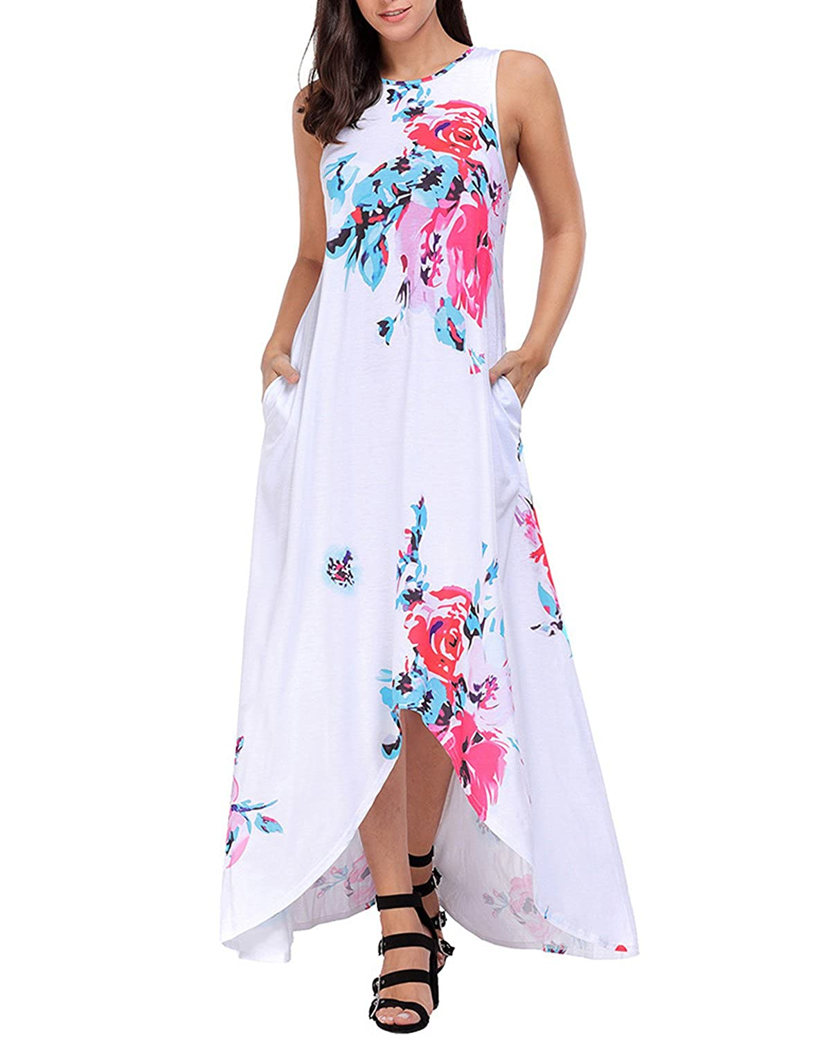 0e9d26141c3 Amazon.com: MODARESS Women's Summer Long Maxi Dress Floral Sleeveless  Pockets Hi-Lo Casual Dress: Clothing