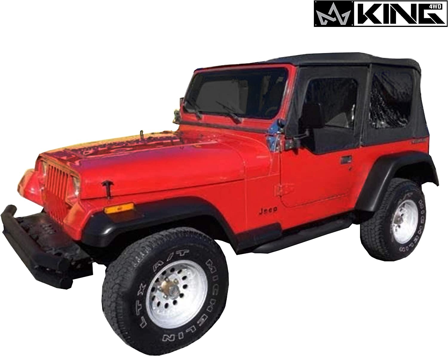 YJ 1987-1995 Jeep Wrangler King 4WD Replacement Soft Top in Black Diamond