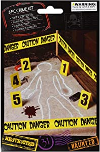 J&J's ToyScape 8 Pcs Crime Scene Kit (Caution Danger) | Includes 2ft x 30ft Fright Tape, 2 Blood Prints, and 5 Evidence Markers, Horror-Themed Party Supplies