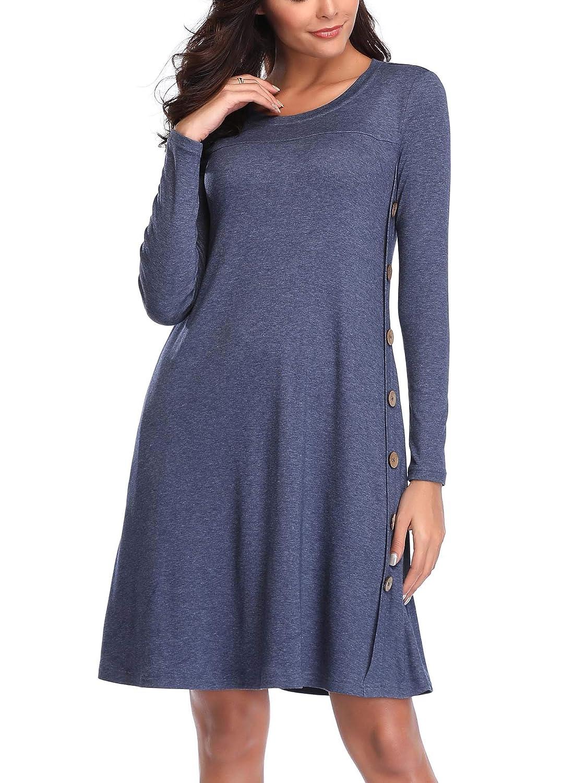 bluee FENSACE with Pockets Womens Long Sleeve T Shirt Tunic Dress