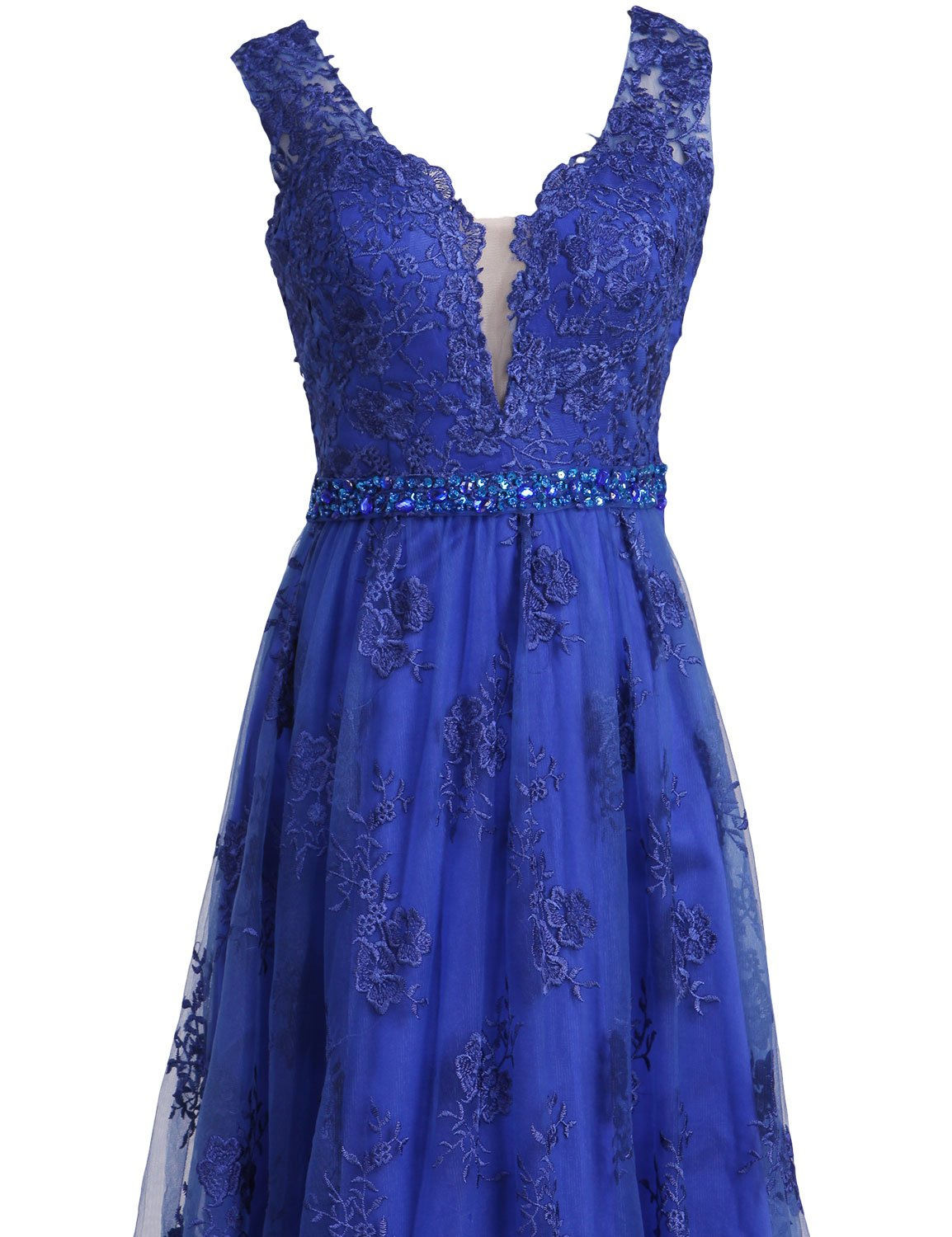 SeasonMall Womens Prom Dresses 2016 Lace V-Neck A Line Sleeveless Sweep Train With Beading Dress Size 0 Dark Royal Blue by SeasonMall (Image #3)