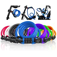 VLTAWA Premium Bike Lock with Mounting Bracket, 4 ft Portable Coiling Bike Cable Lock, 1/2 in Diameter High Security…