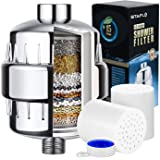 SITAFL 15 Stage Universal Vitamin C Shower Filter with 2 Replacement Cartridges, Reduce Impurities, Remove Chlorine and Fluoride, Water Softener for Women Baby Children Pet