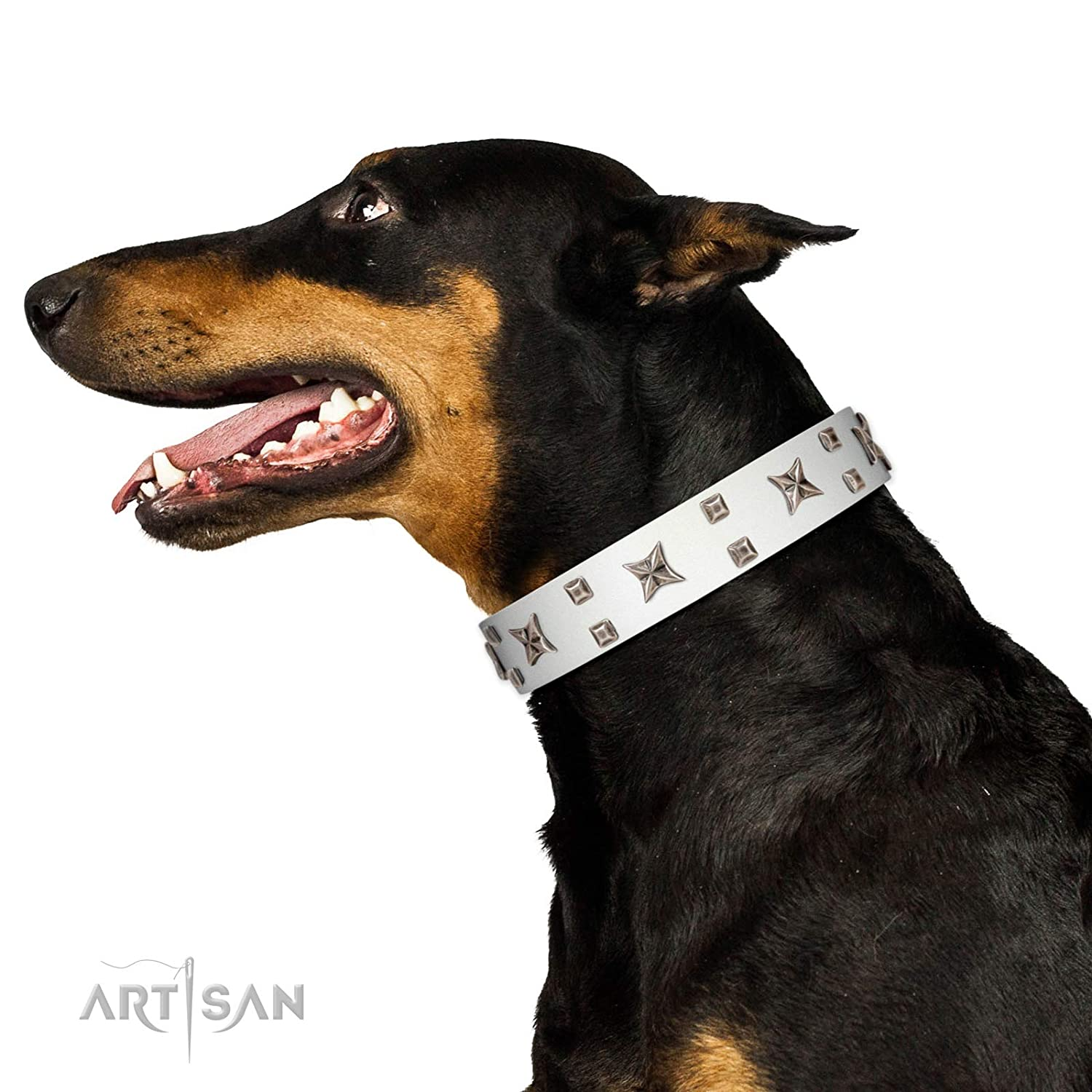 Fits for 26 inch (65cm) dog's neck size FDT Artisan 26 inch Star Patrol White Leather Dog Collar Adorned with Studs and Stars 1 1 2 inch (40 mm) Wide