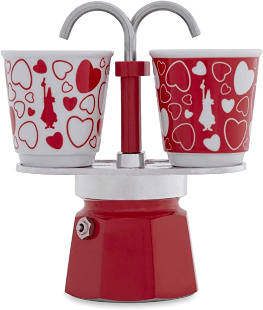 Bialetti 0006380 Set Mini Express Cafetera de 2 tazas + 2 vasos corazón, aluminio: Amazon.es: Hogar