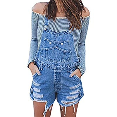 Liyuandian Womens Distressed Jean Shorts Ripped Rompers Overalls: Clothing