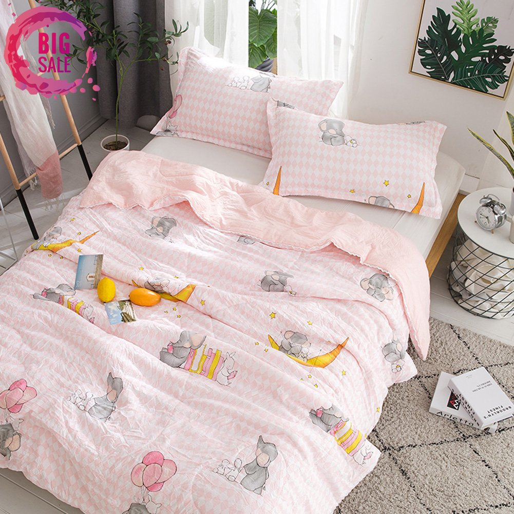 Leadtimes Girls Lovely Thin Quilt for Summer Cotton Kids Summer Comforter Twin Size with Elephants Patterns, Reversible and Breathable (Elephant, Twin)