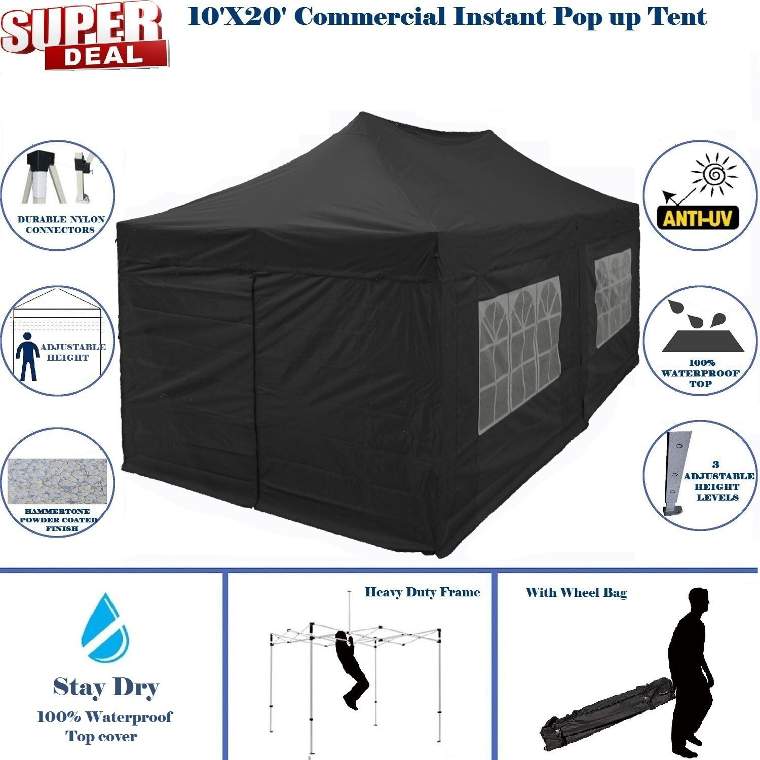 10'x20' Pop UP Canopy Wedding Party Tent Instant EZ UP Canopy Black - F Model Commercial Frame By DELTA