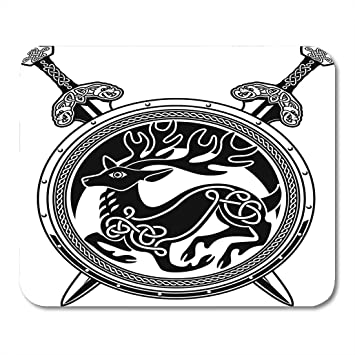 amazon com emvency mouse pads celtic shield deer crest and