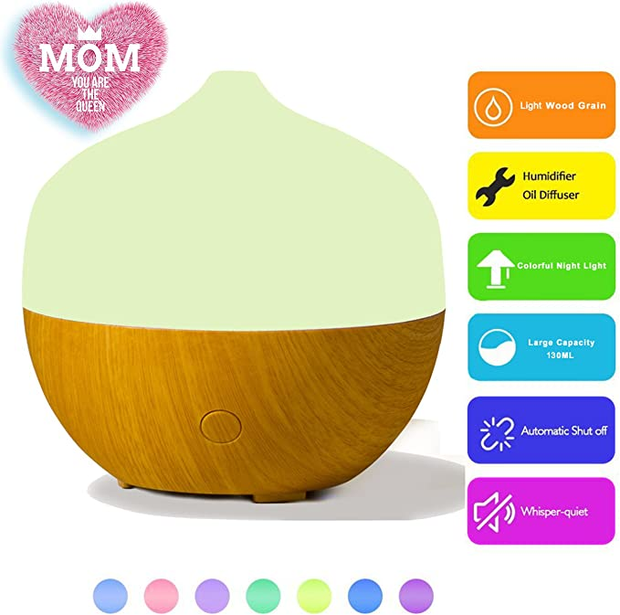 130Ml Aroma Essential Oil Diffuser Wood LED Ultrasonic Air Purifier Humidifier