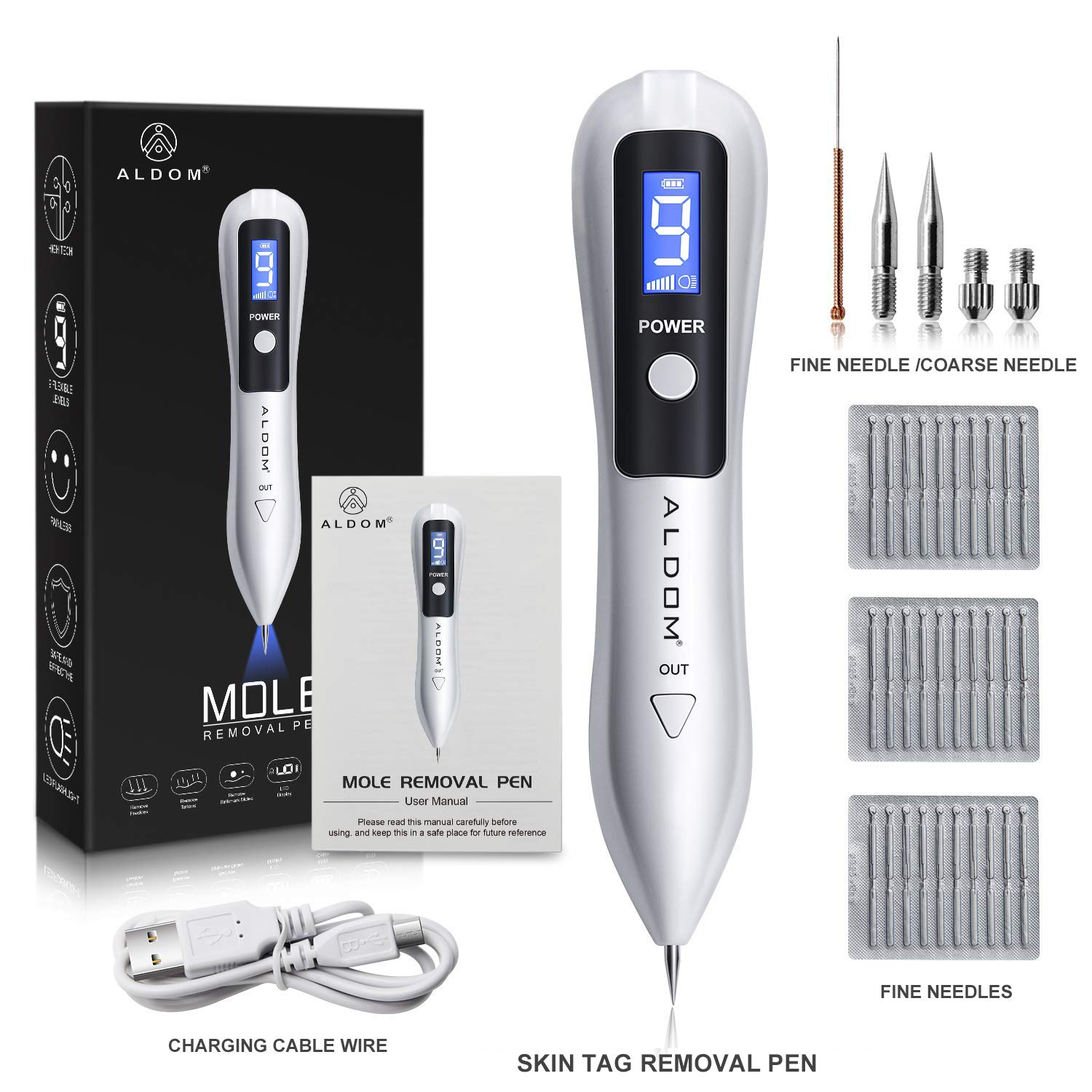 ALDOM Skin Tag Repair Kit 9 Speed Adjustable Skin Tag for Tattoo Freckle Professional Beauty Equipment with Replaceable Needle Home USB Charging LCD Screen