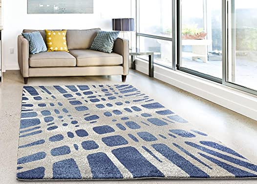 Dara 3929 Blue Modern 8 x 10 Area Rug Carpet Large New