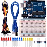 kuman Basic Starter Kits for Arduino Robot Projects and Beginner Learner with UNO R3, Breadboard, LED, Resistor and USB Cable K2