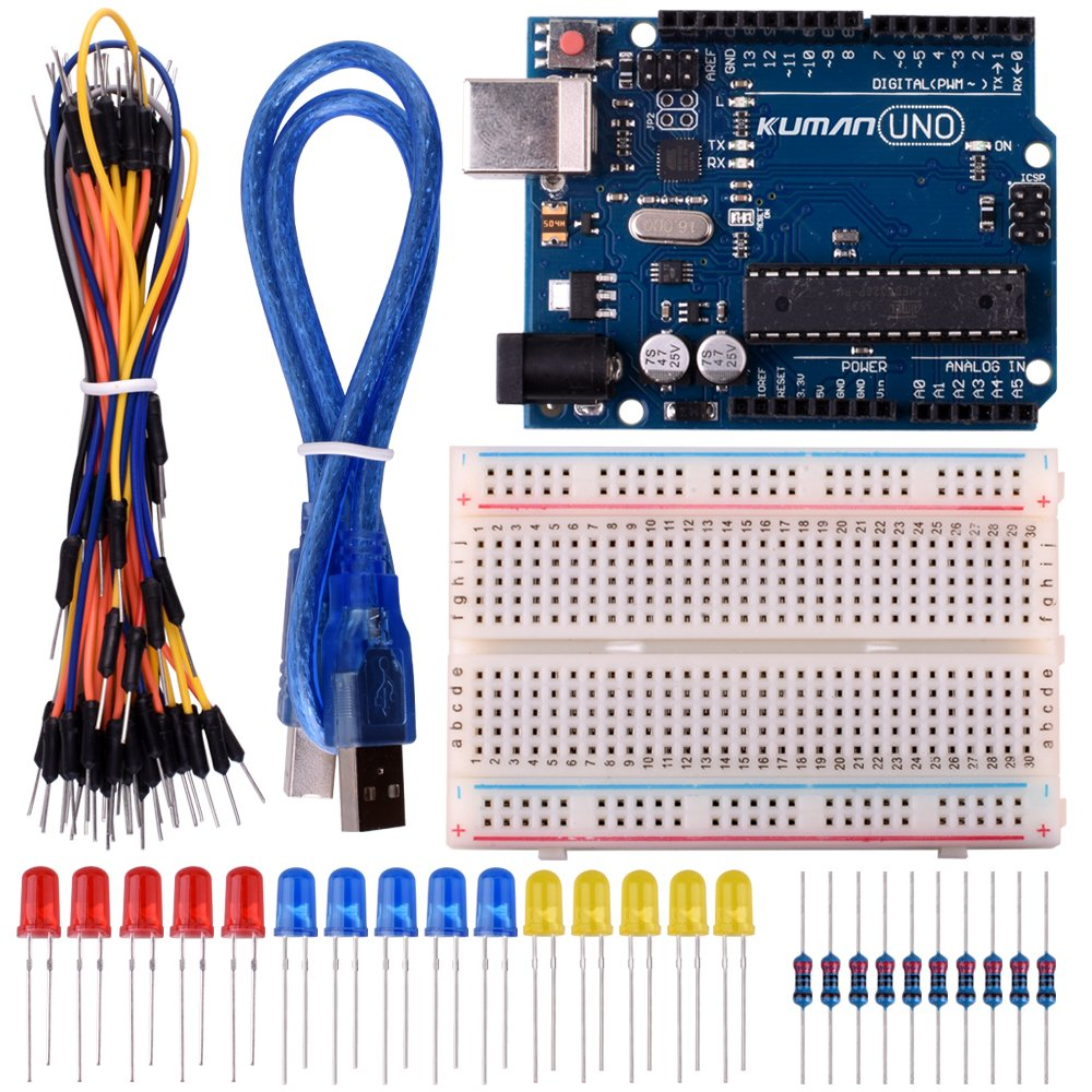 Kuman Basic Starter Kits For Arduino Robot Projects And Circuit Board Project Beginner Learner With Uno R3 Breadboard Led Resistor Usb Cable K2 Toys Games