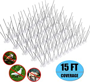 Bird Spikes for Small Birds,Bird Deterrent Spikes Stainless Steel Pigeon Spikes for Fence Roof Mailbox Window -Cover 15 Feet (14 Pack)