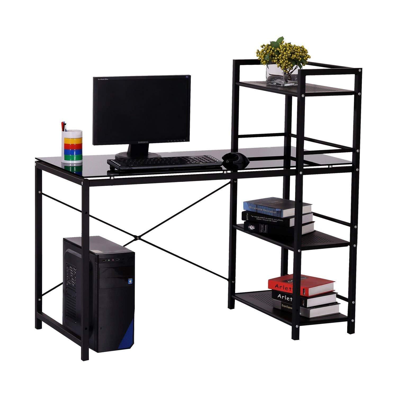 Computer Desk,Modern Style Office Desk with 4 Tier Bookshelves Workstation,Home Corner Desk Wood & Metal (Black)