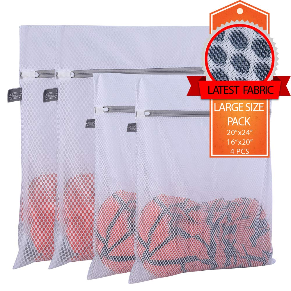 Extra Large Heavy Duty Mesh Wash Laundry Bag- Pack of 4 (2 Extra Large + 2 Large) 125gsm Net Fabric Durable and Reusable Wash Bag,Travel Organization Bag for Clothes,Jeans,Bath Towels,Bed Sheets