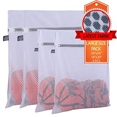 Extra Large Heavy Duty Mesh Wash Laundry Bag- Pack of 4 (2 Extra Large + 2 Large ) 125gsm Net Fabric Durable and Reusable Wash bag,Travel Organization Bag for Clothes,Jeans,Bath Towels,Bed Sheets