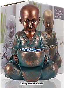 LIMEIDE Meditating Baby Buddha Statue Figurine, Zen Garden Monk Sculpture w/Bowl- Indoor/Outdoor Decor for Home, Garden, Patio, Deck, Porch Yard Art Decoration(Copper)