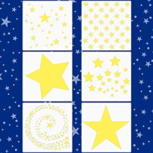 6 Pieces Star Stencil Kit Reusable Twinkle Star Template Assorted Star Pattern Stencils in Different Sizes with Metal Open Ring for Painting on Tile Wall Home Decor Paper Fabric