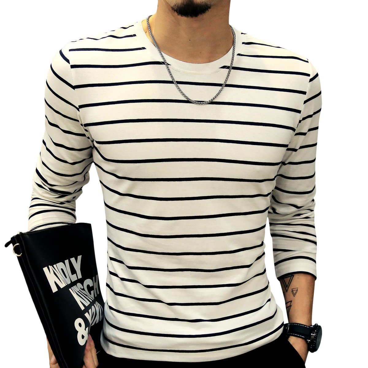 LOGEEYAR Mens Long-Sleeve Cotton Fitted Contrast Color Stitching Stripe Slim T-Shirt (White,M) by LOGEEYAR (Image #3)