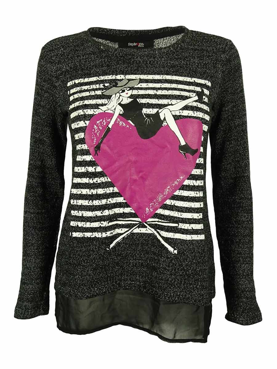 Style & Co. Women's Long Sleeve Crew Neck Chiffon Hem Sweater (PS, Glamourati)