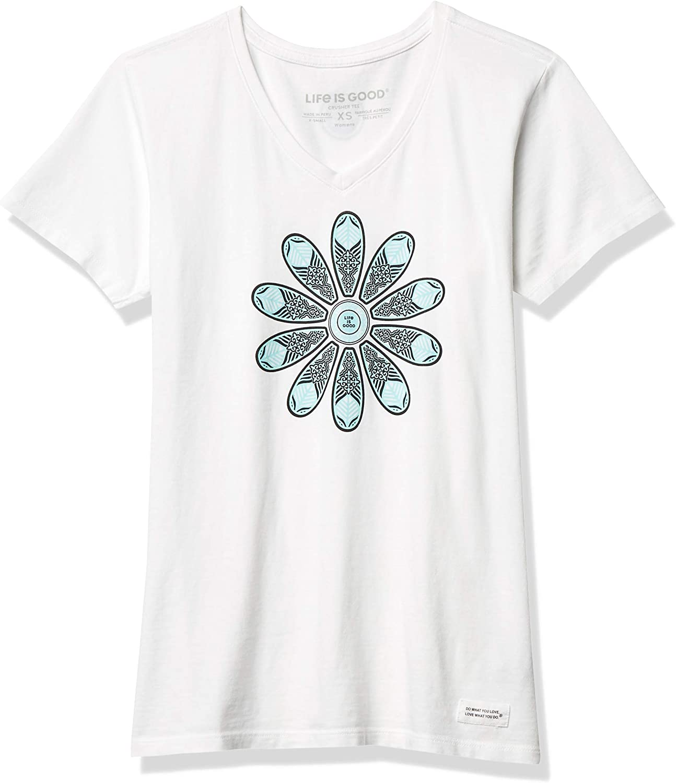 Life is Good Women's Crusher Vee T-Shirt Floral Jars