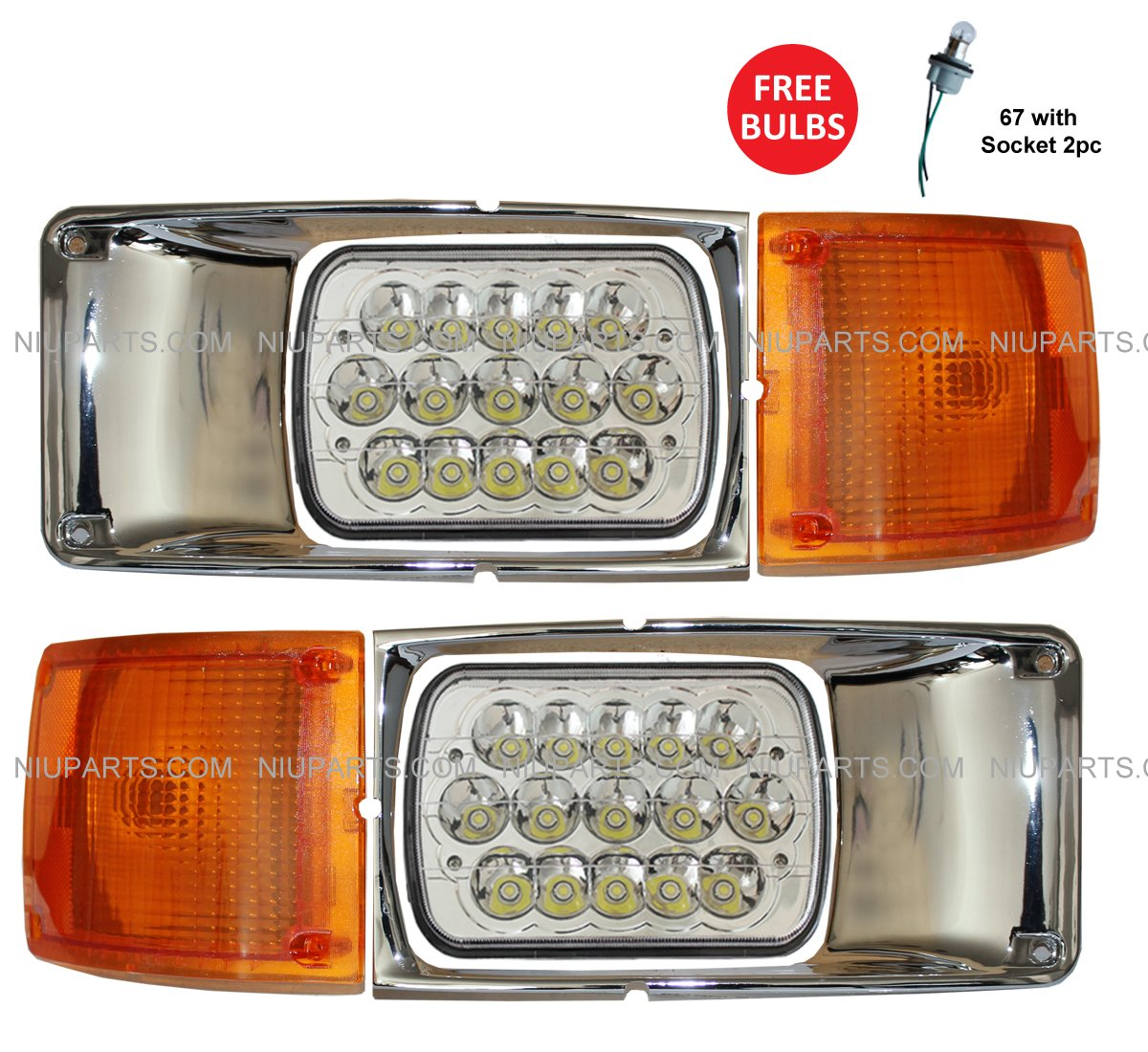 International 3800 4700 4800 4900 8100 8200 Headlight LED with Bezel Chrome and Corner Turn Signal Light - Driver and Passenger Side