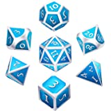 Hestya 7 Pieces Metal Dices Set DND Game Polyhedral Solid Metal D&D Dice Set Storage Bag Zinc Alloy Enamel Role Playing Game Dungeons Dragons, Math Teaching (Pearl Cerulean)
