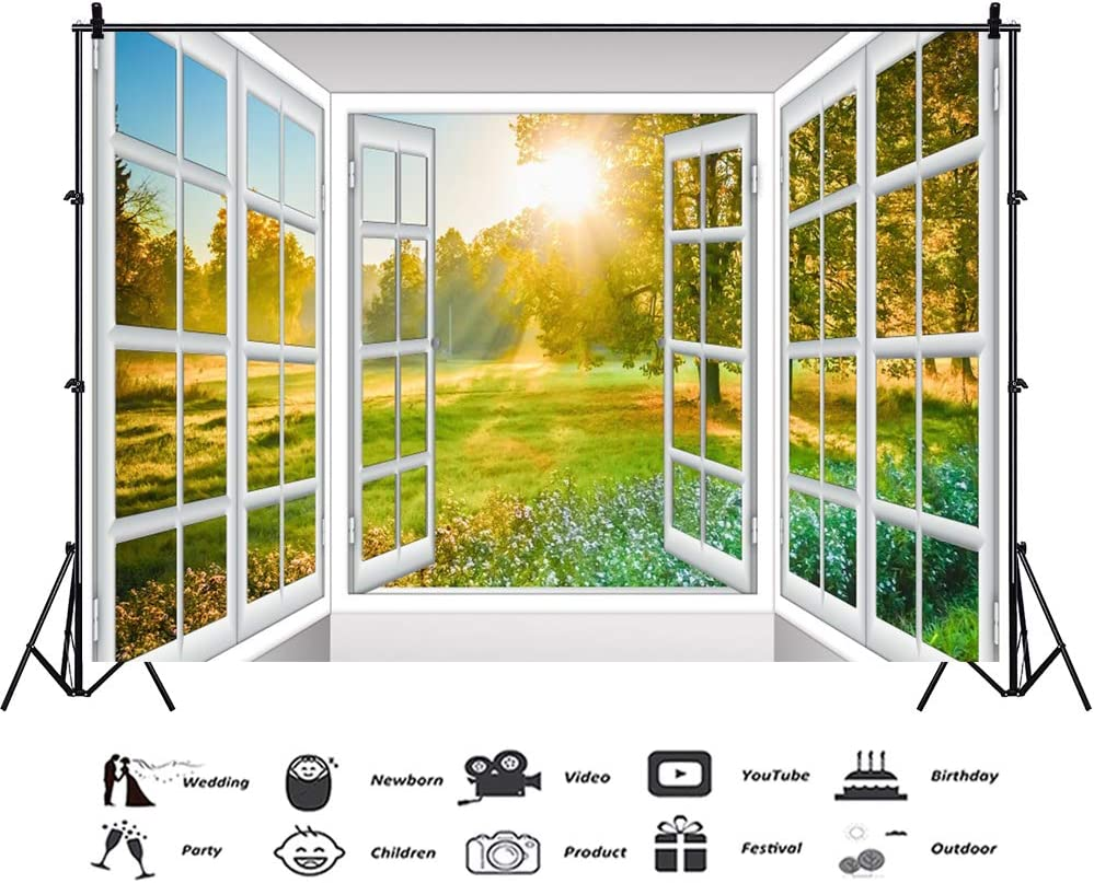 YongFoto 10x9ft White Windowsill Backdrop Spring Scenery Window View Photography Background Green Grass Field Sunshine Kids Adults Portrait Studio Props Photo Shoot Banner Wallpaper