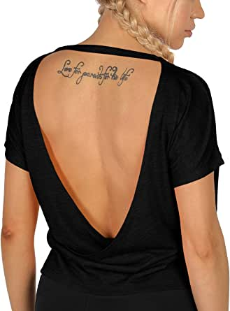 icyzone Open Back Workout T-Shirts for Women - Strappy Athletic Short-Sleeve Tees, Backless Yoga Tops, Gym Shirts