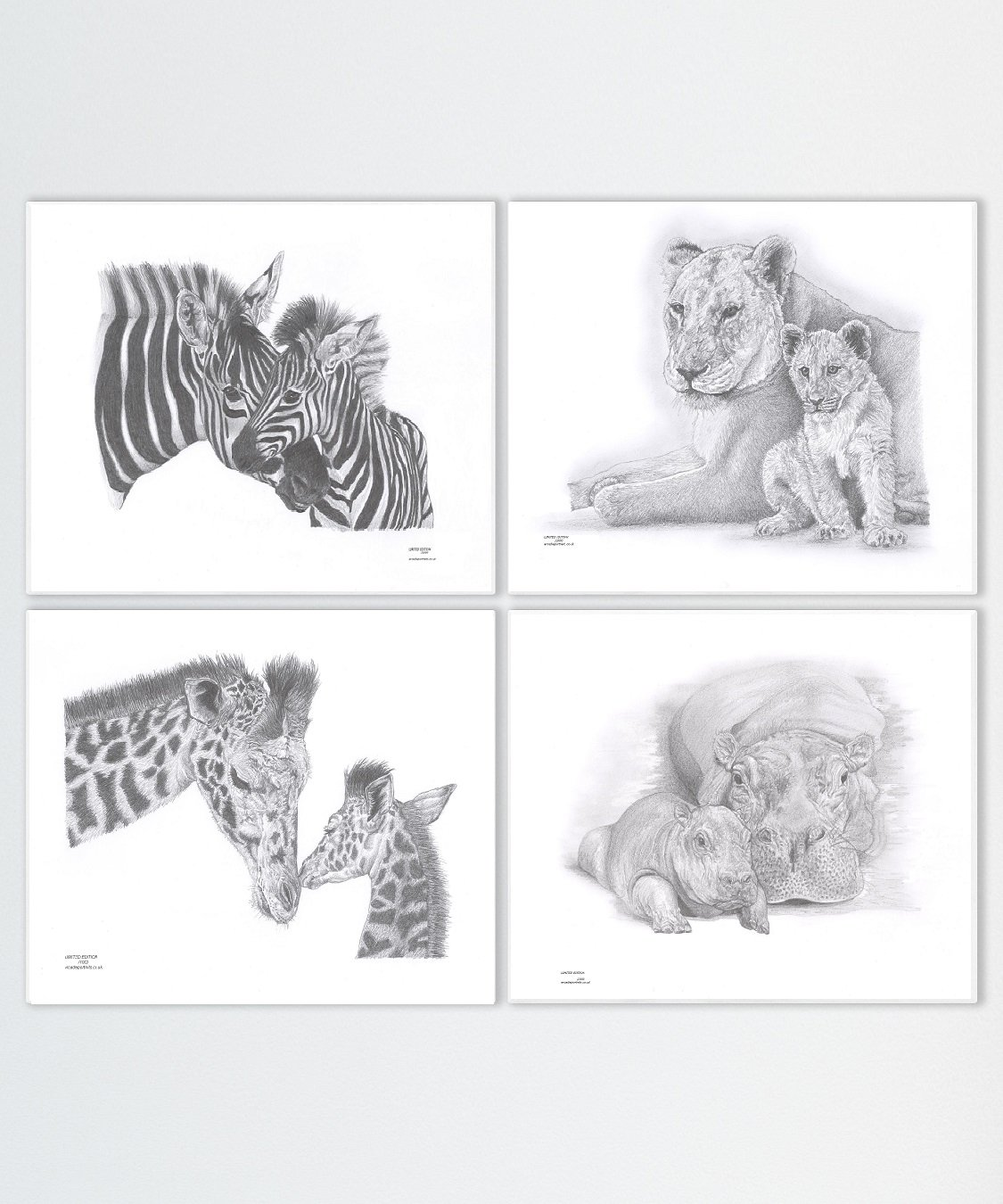 Nursery wild zoo farm jungle safari mother and baby animal set of 4 art pencil drawing art prints zebra mare foal lioness lion and cub giraffe and calf