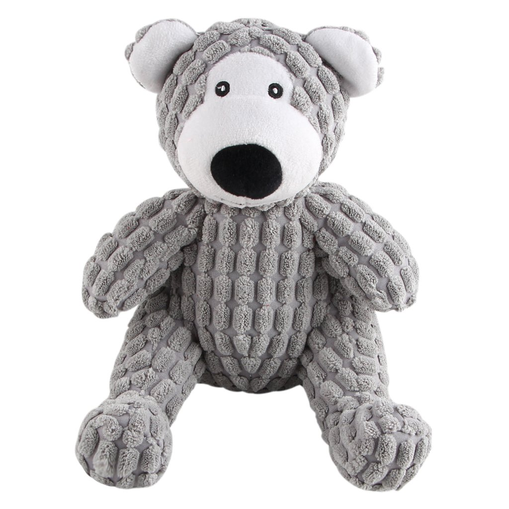IFOYO Dog Squeaky Toy, Durable Dog Squeaker Toy 7.9 x 6.3 Inch Cute Sitting Bear Shaped Dog Interactive Toy Unique Tough Cloth Stuffed Dog Toy for Boredom