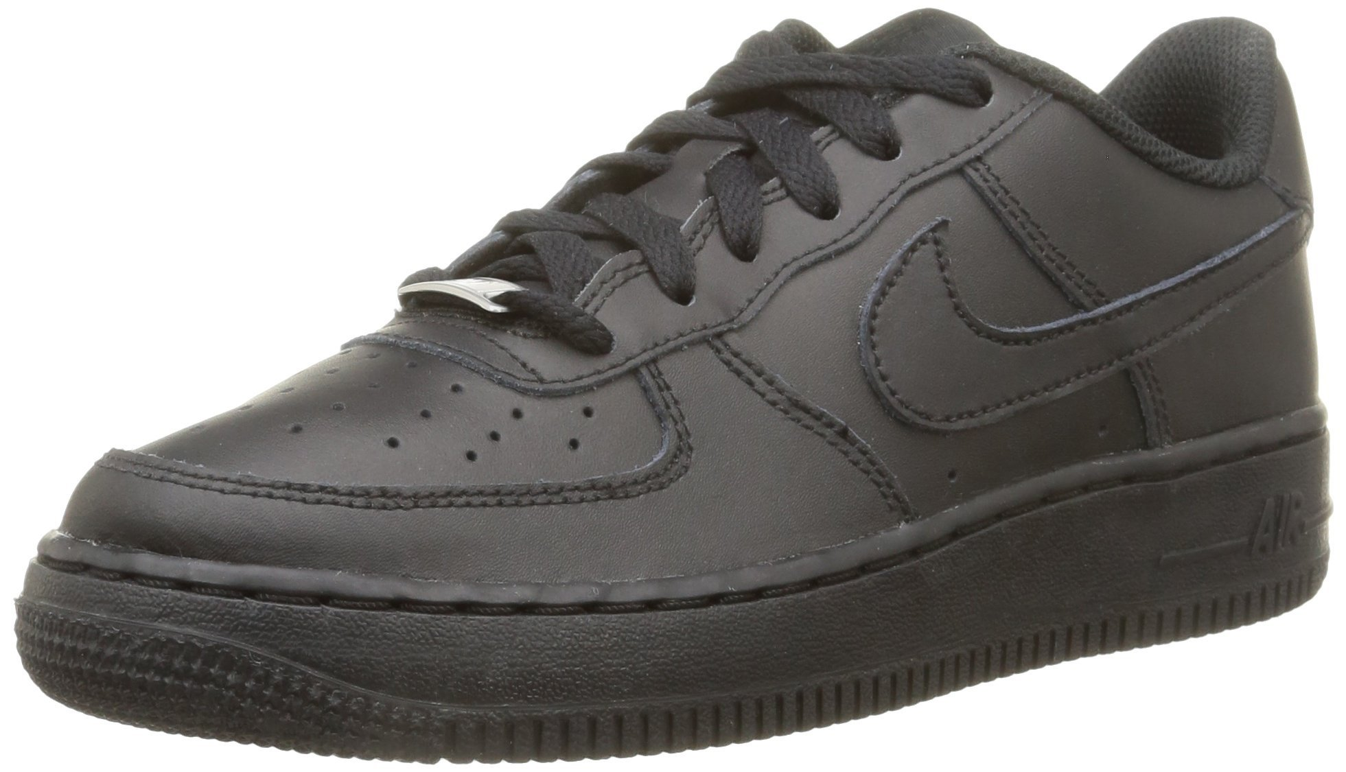 Nike AIR Force 1 (GS) Boys Basketball-Shoes, Black, Size Big Kid 6.0