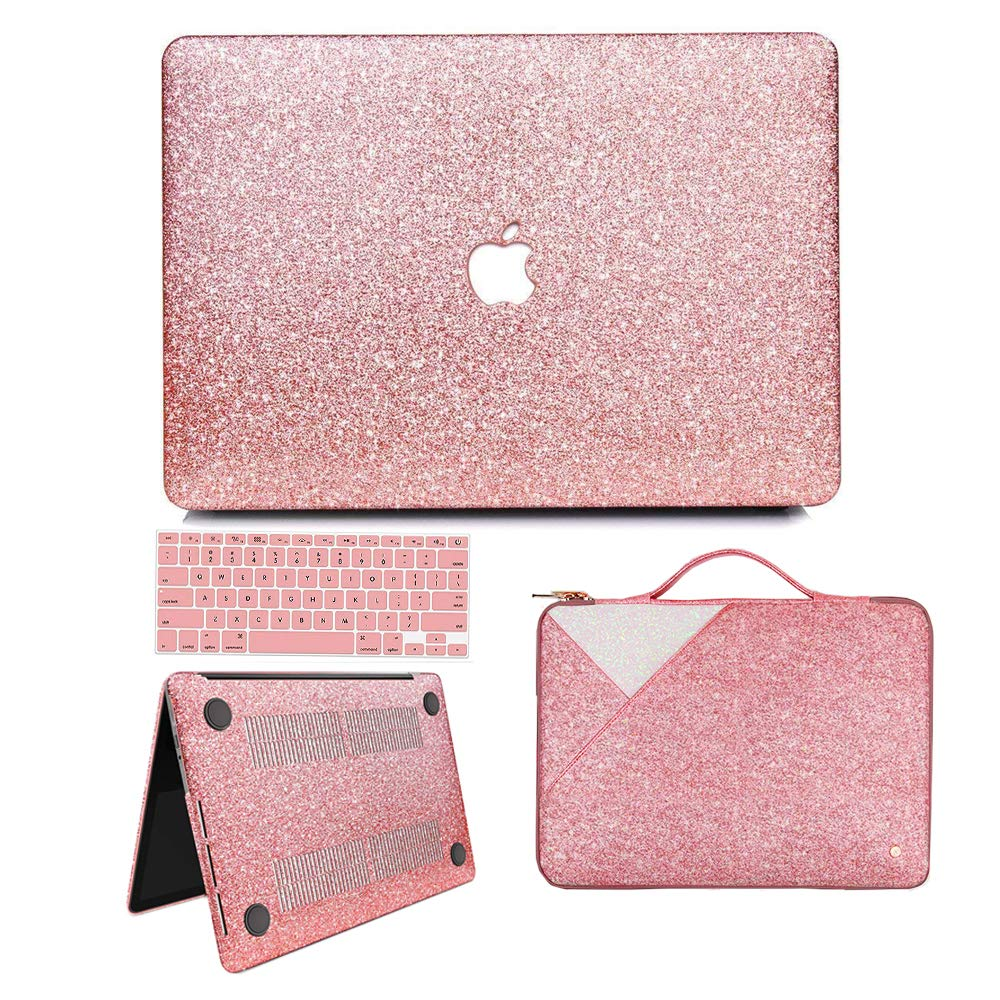 new styles 57de5 f66b1 MacBook Air 13 inch Case, Anban Glitter Bling Smooth Protective Case &  Glitter Laptop Sleeve & Keyboard Cover Compatible for MacBook Air 13