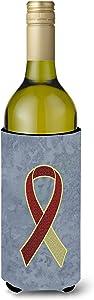 Caroline's Treasures AN1218LITERK Burgundy and Ivory Ribbon for Head and Neck Cancer Awareness Wine Bottle Beverage Insulator Hugger, Wine Bottle, multicolor