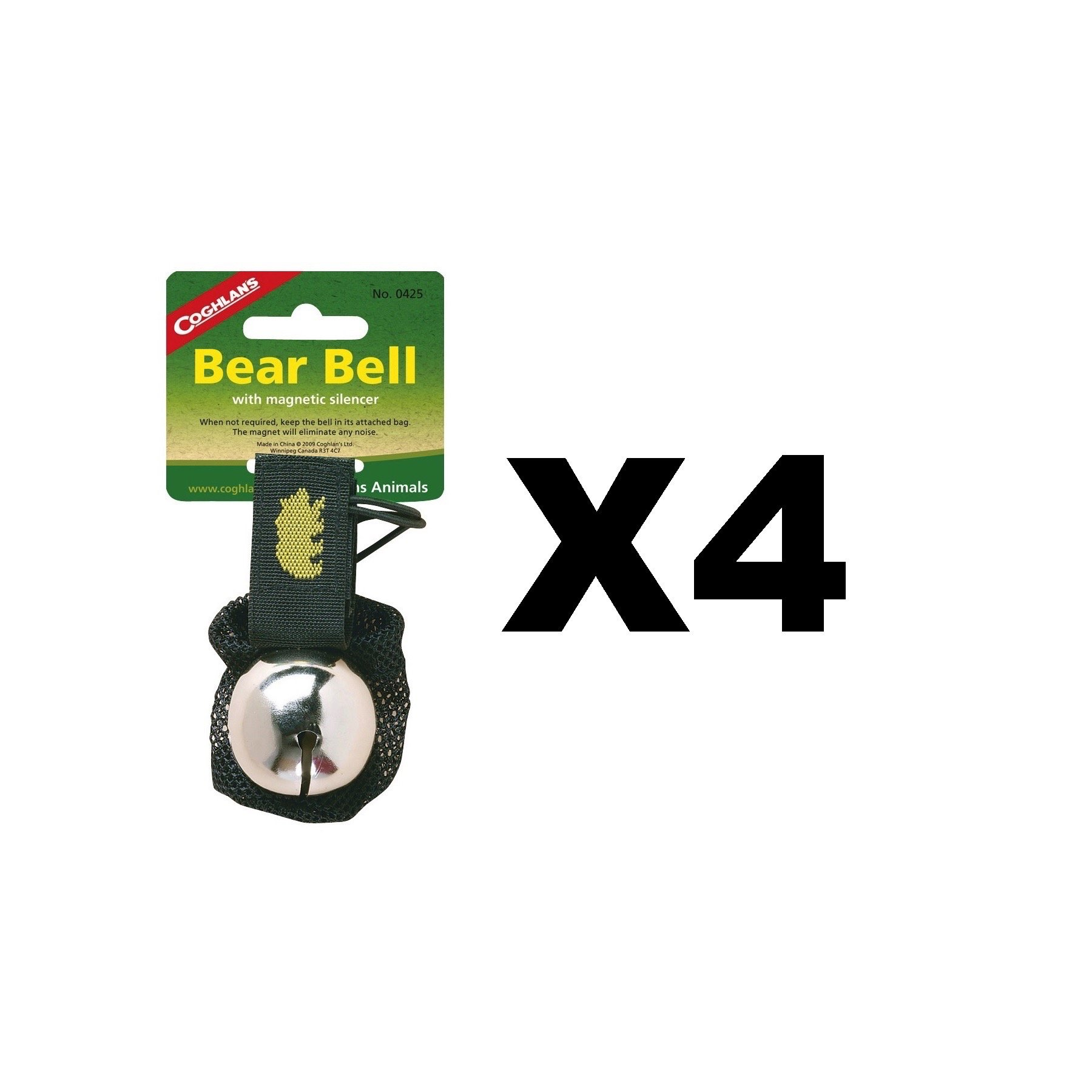 Coghlan's Bear Bell w/Magnetic Silencer Bag & Loop Strap Warns Animals (4-Pack)