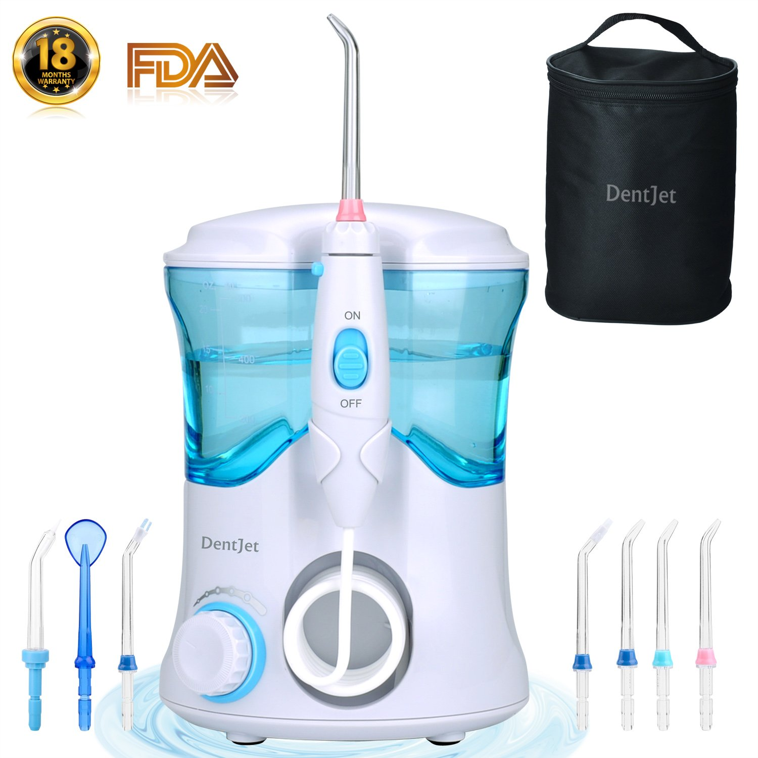 Oral Irrigator Multifunctional Water Flosser for Family, DentJet Professional Dental Care Kit Teeth Cleaner Water Pick for Teeth with 7 Nozzles and Travel Bag