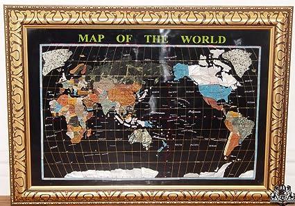 Gemstone World Map.Amazon Com Unique Art 30 Inch Cross With Frame Black Onyx Ocean